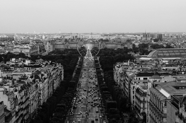champs elysees paris vue panorama avenue arc triomphe concorde place