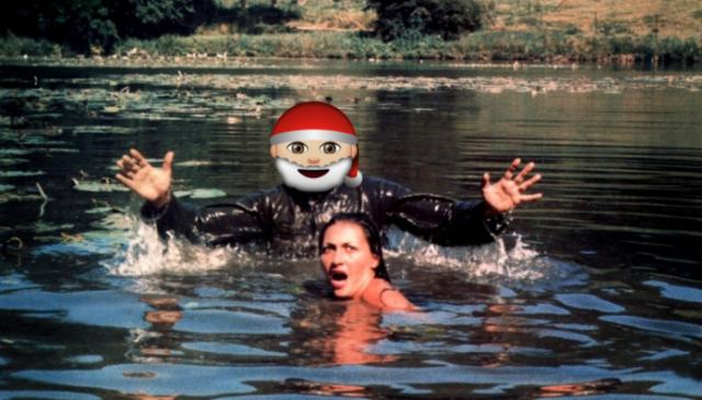 lac des morts vivants femme attaques zombie père noel